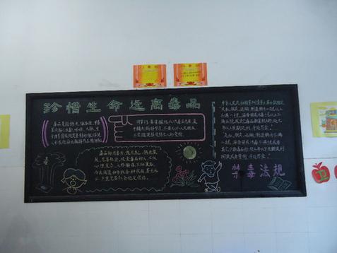 小学关于十九大黑板报-浦江县一家小学绘制出 禁毒 为主题的黑板报图片
