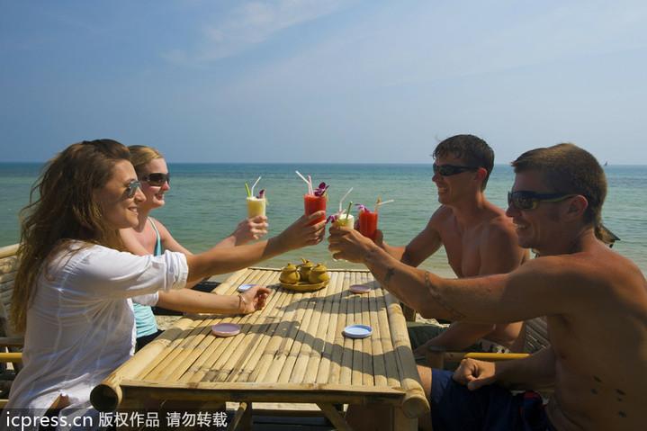 泰国苏梅岛,海滩酒吧