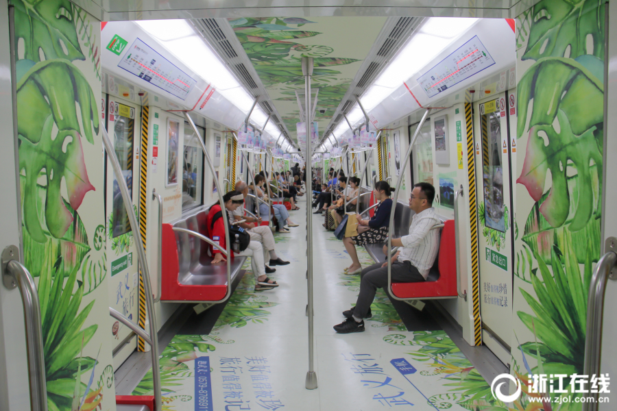 杭州地鐵刮起清新風 手賬地鐵專列喊你快上車