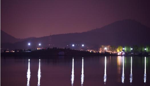 西湖夜景:地球一小时