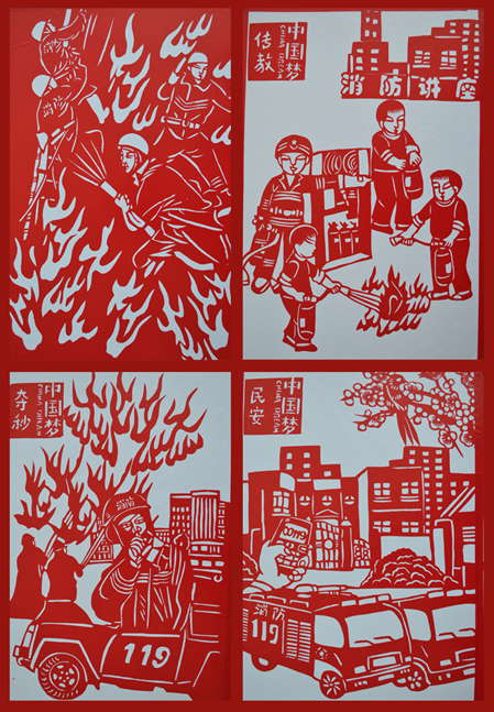 宁波:大师创消防系列剪纸 助阵消防安全宣传